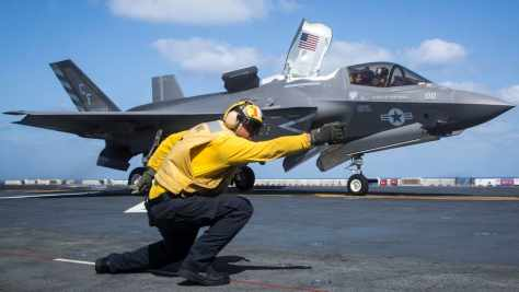 F-35B Lightning II launches from the amphibious assault ship USS Essex on Sept. 22, 2018. AFP